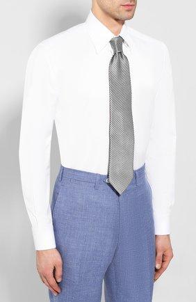 Мужская хлопковая сорочка ZILLI белого цвета, арт. MFT-MERCU-13015/RZ01   Фото 4