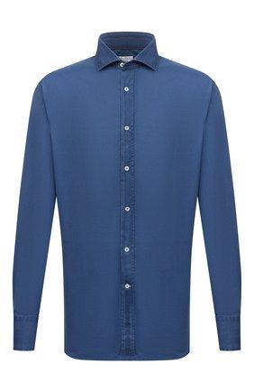 Мужская хлопковая сорочка BRUNELLO CUCINELLI синего цвета, арт. ML6930028 | Фото 1