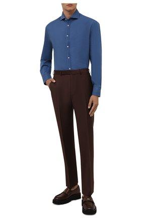 Мужская хлопковая сорочка BRUNELLO CUCINELLI синего цвета, арт. ML6930028 | Фото 2