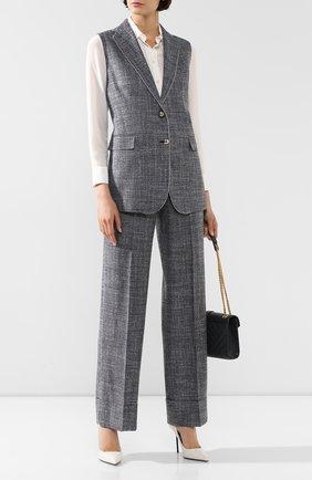 Женские шерстяные брюки KITON серого цвета, арт. D49106K09S06 | Фото 2