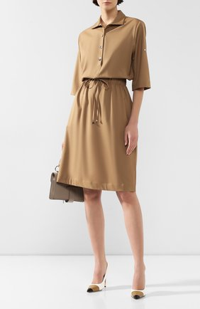 Женское шерстяное платье KITON бежевого цвета, арт. D49305K09S16 | Фото 2