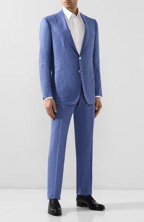 Мужской костюм из смеси кашемира и льна KITON голубого цвета, арт. UA81K06S49   Фото 1