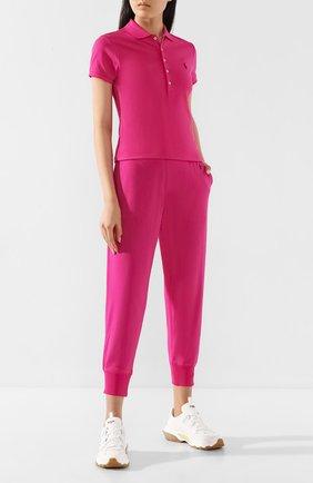 Женское хлопковое поло POLO RALPH LAUREN розового цвета, арт. 211505654 | Фото 2