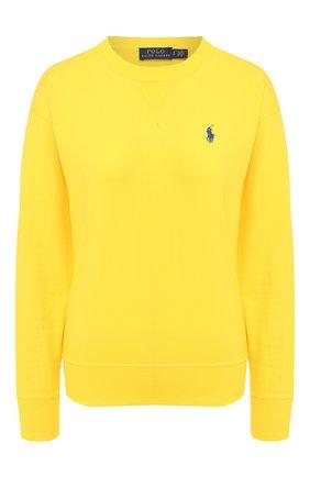 Женская хлопковый свитшот POLO RALPH LAUREN желтого цвета, арт. 211780304 | Фото 1