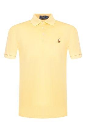 Мужское хлопковое поло POLO RALPH LAUREN желтого цвета, арт. 710652578 | Фото 1