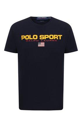 Мужская хлопковая футболка POLO RALPH LAUREN темно-синего цвета, арт. 710750444   Фото 1