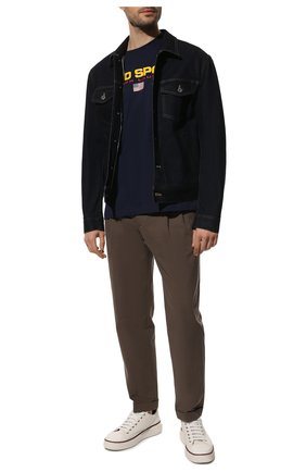 Мужская хлопковая футболка POLO RALPH LAUREN темно-синего цвета, арт. 710750444   Фото 2