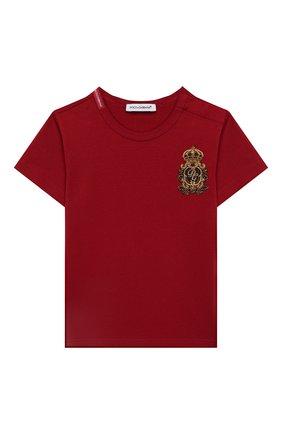 Детский хлопковая футболка DOLCE & GABBANA красного цвета, арт. L1JT6S/G7VEF | Фото 1