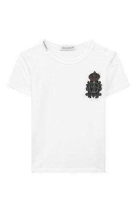 Детский хлопковая футболка DOLCE & GABBANA белого цвета, арт. L1JT6S/G7VEF | Фото 1