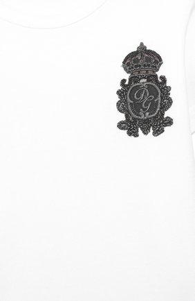 Детский хлопковая футболка DOLCE & GABBANA белого цвета, арт. L1JT6S/G7VEF | Фото 3