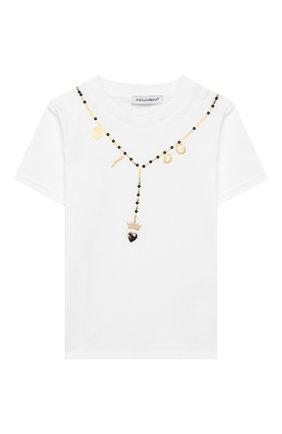 Детский хлопковая футболка DOLCE & GABBANA белого цвета, арт. L2JTAZ/G7VWF | Фото 1