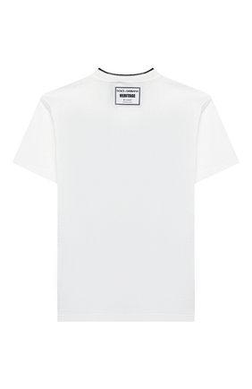 Детская хлопковая футболка DOLCE & GABBANA белого цвета, арт. L4JT9A/G7VG0/2-6 | Фото 2