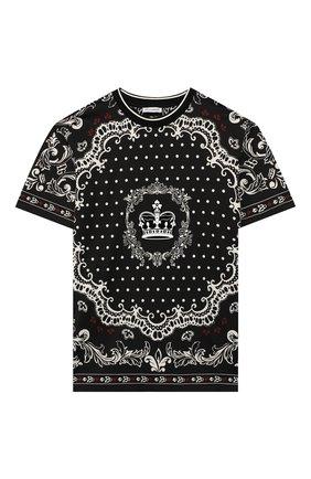 Детская хлопковая футболка DOLCE & GABBANA черно-белого цвета, арт. L4JT9A/G7VGN/2-6 | Фото 1