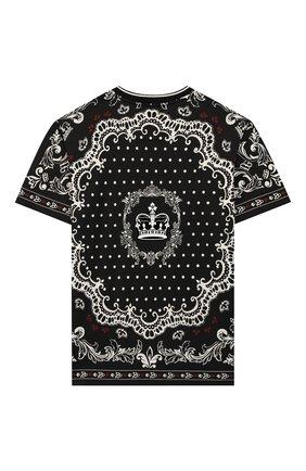Детская хлопковая футболка DOLCE & GABBANA черно-белого цвета, арт. L4JT9A/G7VGN/2-6 | Фото 2