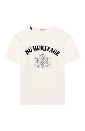 Детская хлопковая футболка DOLCE & GABBANA белого цвета, арт. L4JTAU/G7VGV/2-6 | Фото 1