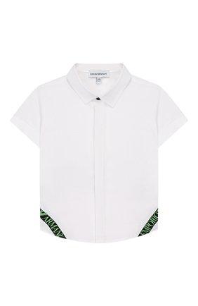 Детский хлопковая рубашка EMPORIO ARMANI белого цвета, арт. 3HHC02/4NGNZ | Фото 1