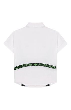 Детский хлопковая рубашка EMPORIO ARMANI белого цвета, арт. 3HHC02/4NGNZ | Фото 2