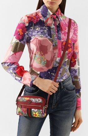 Женская сумка ophidia flora mini GUCCI бежевого цвета, арт. 517350/92YBC | Фото 2