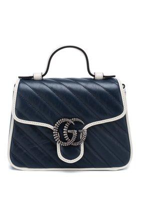 Женская сумка gg marmont mini GUCCI темно-синего цвета, арт. 583571/00LFN | Фото 1