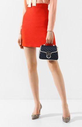 Женская сумка gg marmont mini GUCCI темно-синего цвета, арт. 583571/00LFN | Фото 2