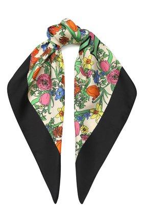 Женский шелковый платок GUCCI белого цвета, арт. 601239/3G001 | Фото 1