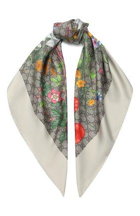 Женский шелковый платок GUCCI бежевого цвета, арт. 602585/3G001 | Фото 1