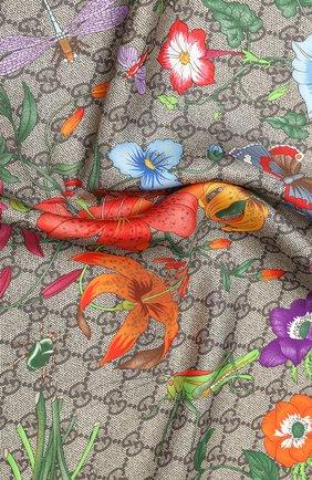 Женский шелковый платок GUCCI бежевого цвета, арт. 602585/3G001 | Фото 2