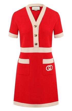 Женское шерстяное платье GUCCI красного цвета, арт. 606017/XKA4A | Фото 1
