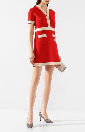 Женское шерстяное платье GUCCI красного цвета, арт. 606017/XKA4A | Фото 2