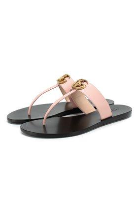 Женские кожаные шлепанцы marmont GUCCI светло-розового цвета, арт. 497444/A3N00 | Фото 1