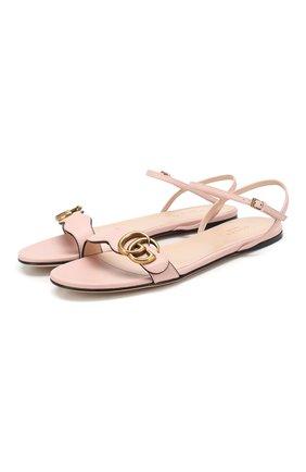 Женские кожаные сандалии GUCCI светло-розового цвета, арт. 524631/A3N00 | Фото 1
