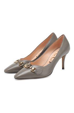 Женская кожаные туфли gucci zumi GUCCI серого цвета, арт. 596860/C9D00 | Фото 1