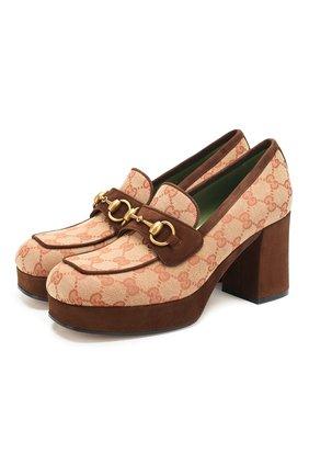 Женская текстильные туфли GUCCI бежевого цвета, арт. 609435/G1730 | Фото 1