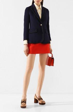 Женская текстильные туфли GUCCI бежевого цвета, арт. 609435/G1730 | Фото 2