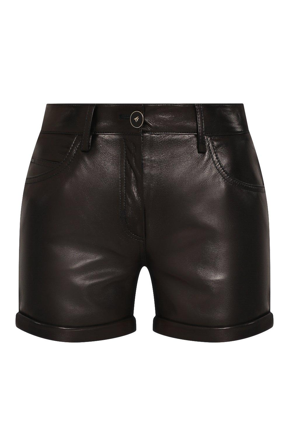 Женские кожаные шорты TOM FORD черного цвета, арт. SHL001-LEX228 | Фото 1
