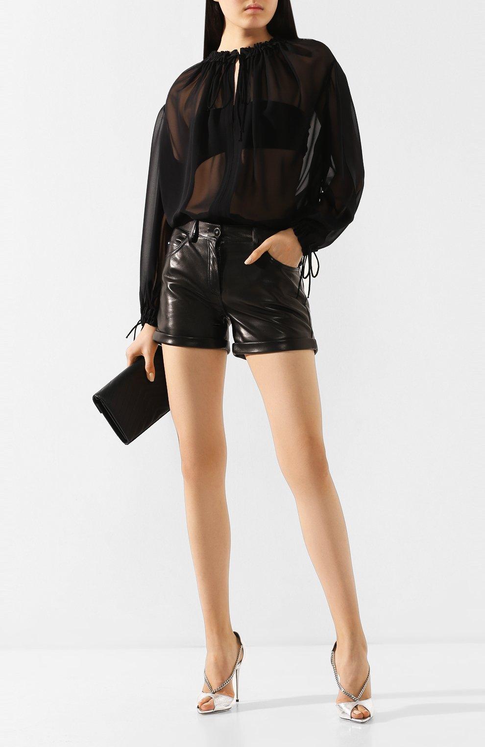 Женские кожаные шорты TOM FORD черного цвета, арт. SHL001-LEX228 | Фото 2