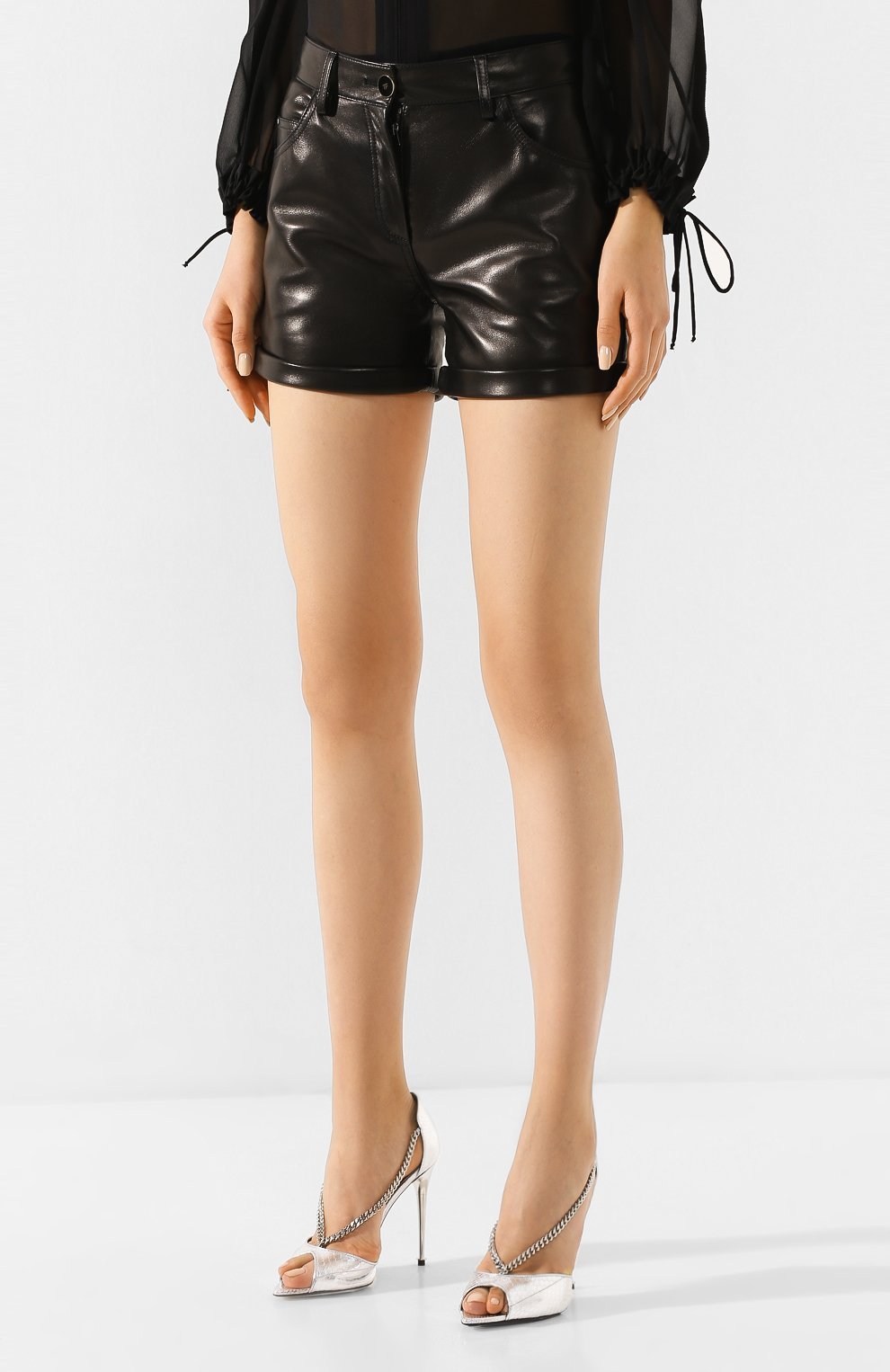 Женские кожаные шорты TOM FORD черного цвета, арт. SHL001-LEX228 | Фото 3