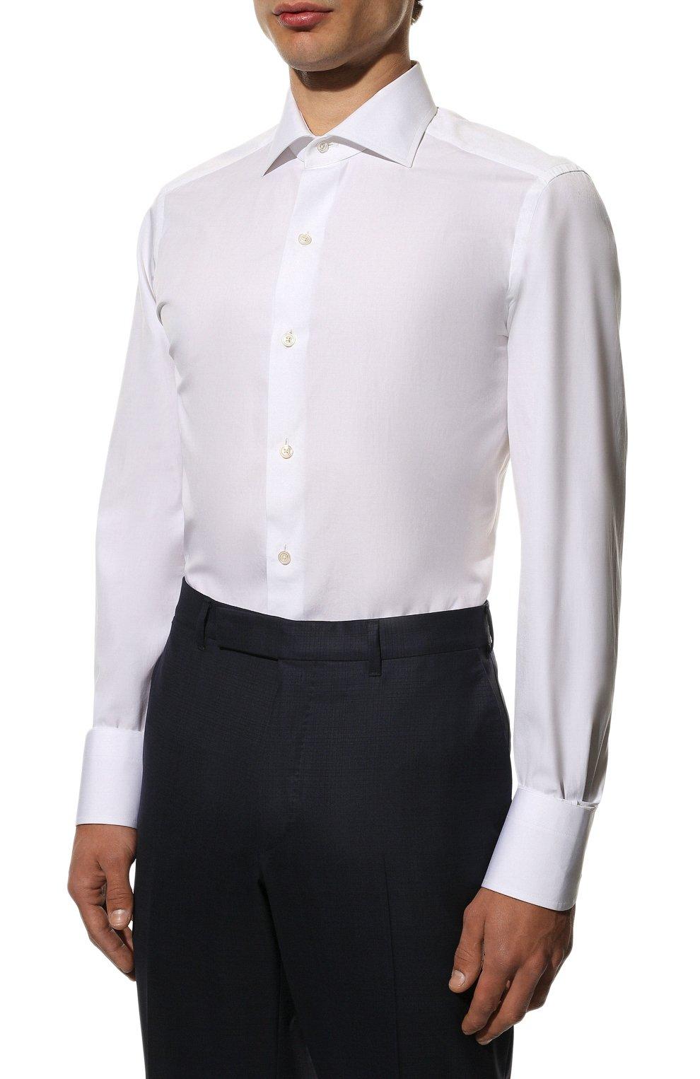 Мужская хлопковая сорочка TOM FORD белого цвета, арт. 7FT000/94S3AX | Фото 3