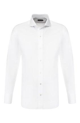 Мужская хлопковая сорочка TOM FORD белого цвета, арт. 7FT042/94S1NA | Фото 1