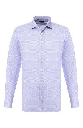 Мужская хлопковая сорочка TOM FORD синего цвета, арт. 7FT633/94S1AX | Фото 1