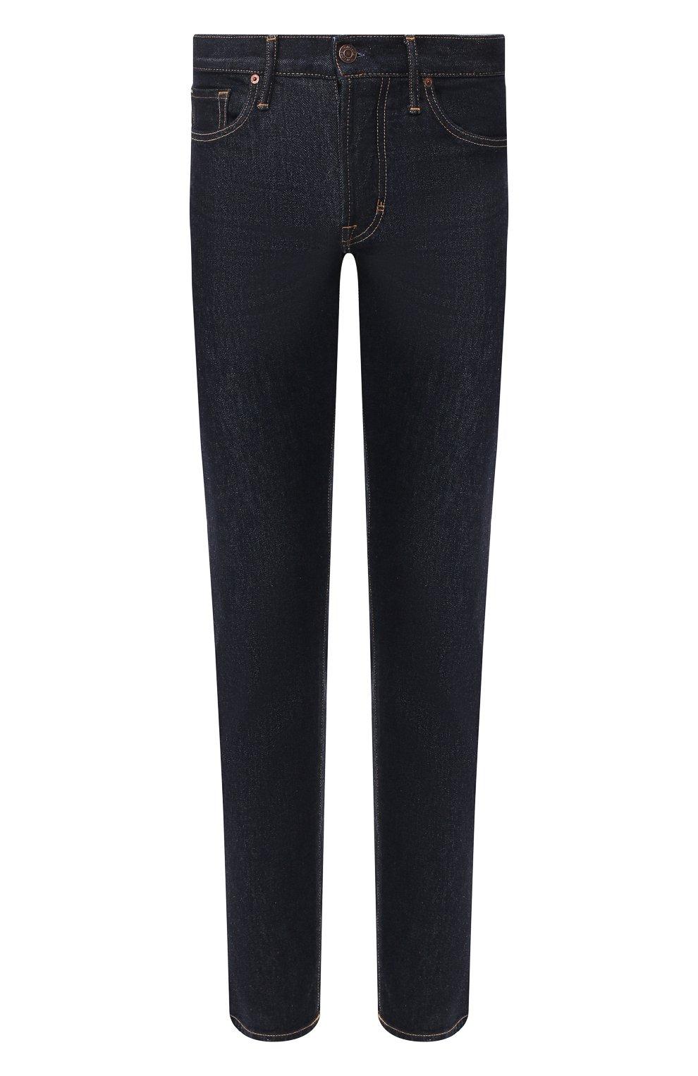 Мужские джинсы TOM FORD темно-синего цвета, арт. BUJ18/TFD002   Фото 1 (Силуэт М (брюки): Прямые; Кросс-КТ: Деним; Длина (брюки, джинсы): Стандартные; Материал внешний: Хлопок; Статус проверки: Проверена категория)
