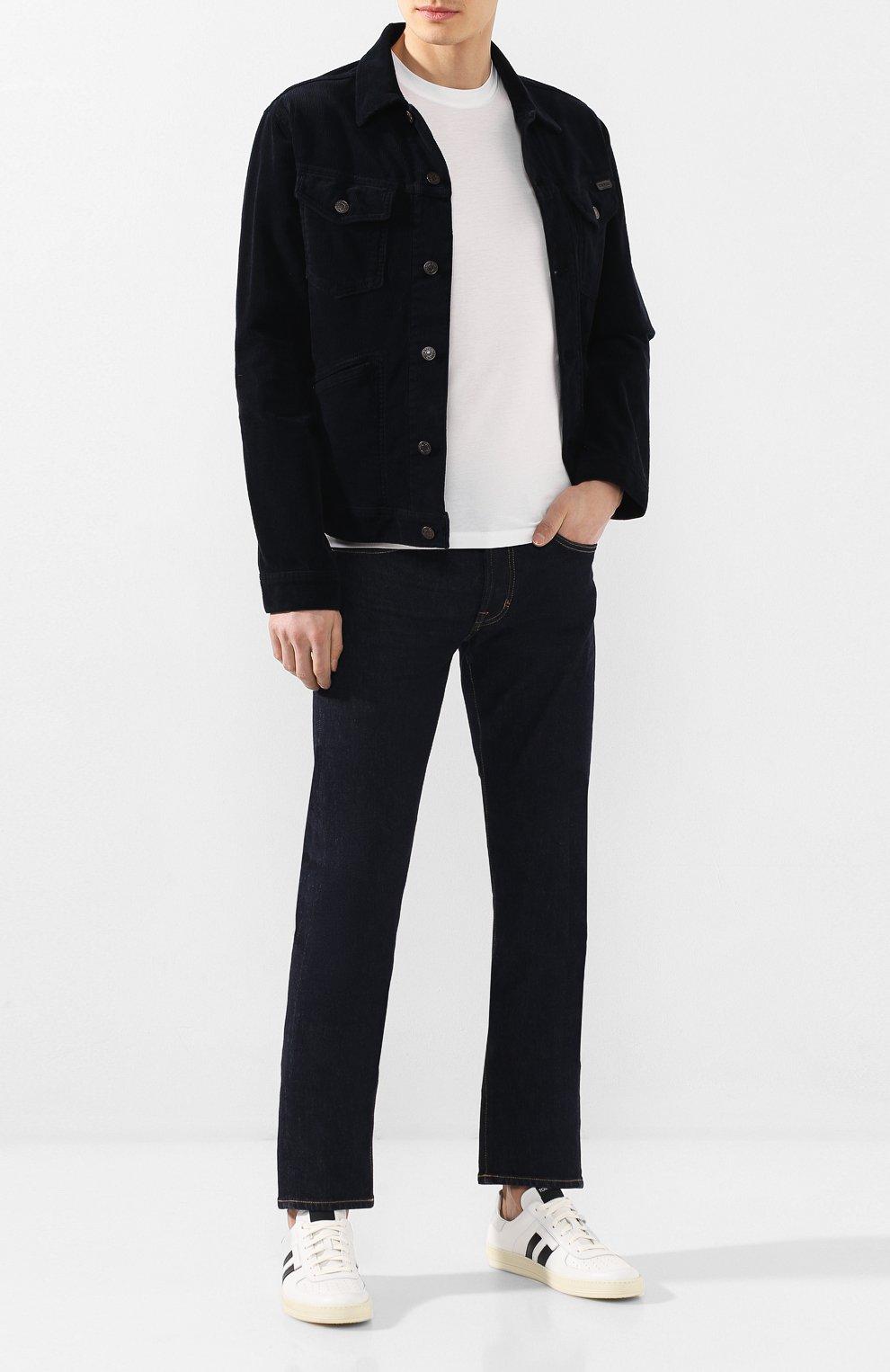 Мужские джинсы TOM FORD темно-синего цвета, арт. BUJ18/TFD002   Фото 2 (Силуэт М (брюки): Прямые; Кросс-КТ: Деним; Длина (брюки, джинсы): Стандартные; Материал внешний: Хлопок; Статус проверки: Проверена категория)