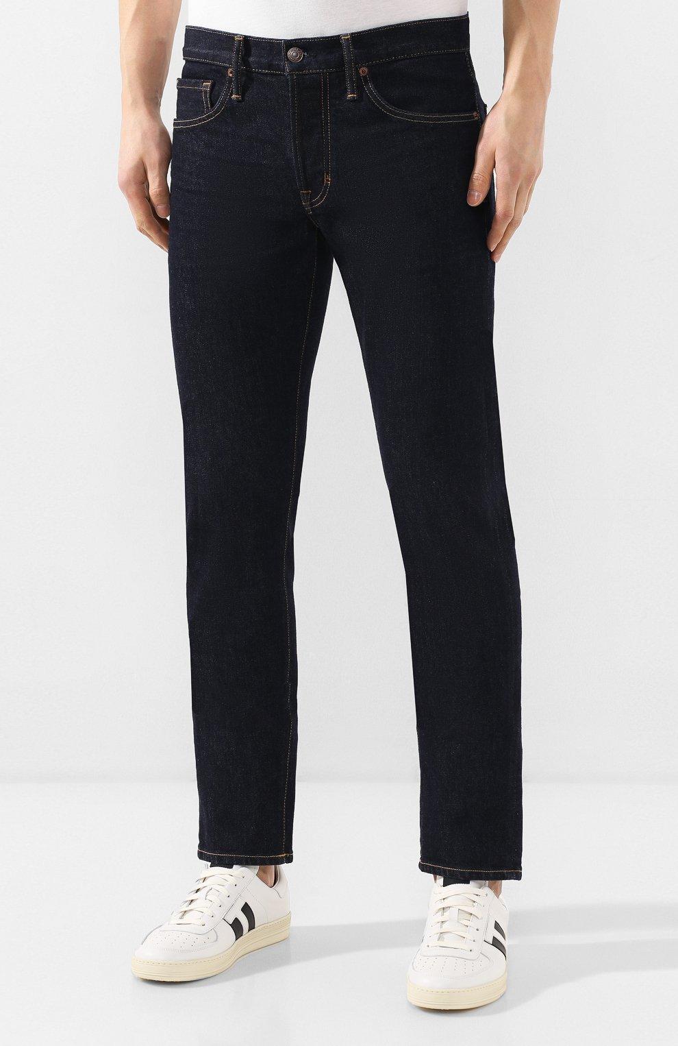 Мужские джинсы TOM FORD темно-синего цвета, арт. BUJ18/TFD002   Фото 3 (Силуэт М (брюки): Прямые; Кросс-КТ: Деним; Длина (брюки, джинсы): Стандартные; Материал внешний: Хлопок; Статус проверки: Проверена категория)
