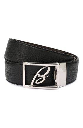 Мужской кожаный ремень BRIONI черного цвета, арт. 0BAS0L/P9740 | Фото 1