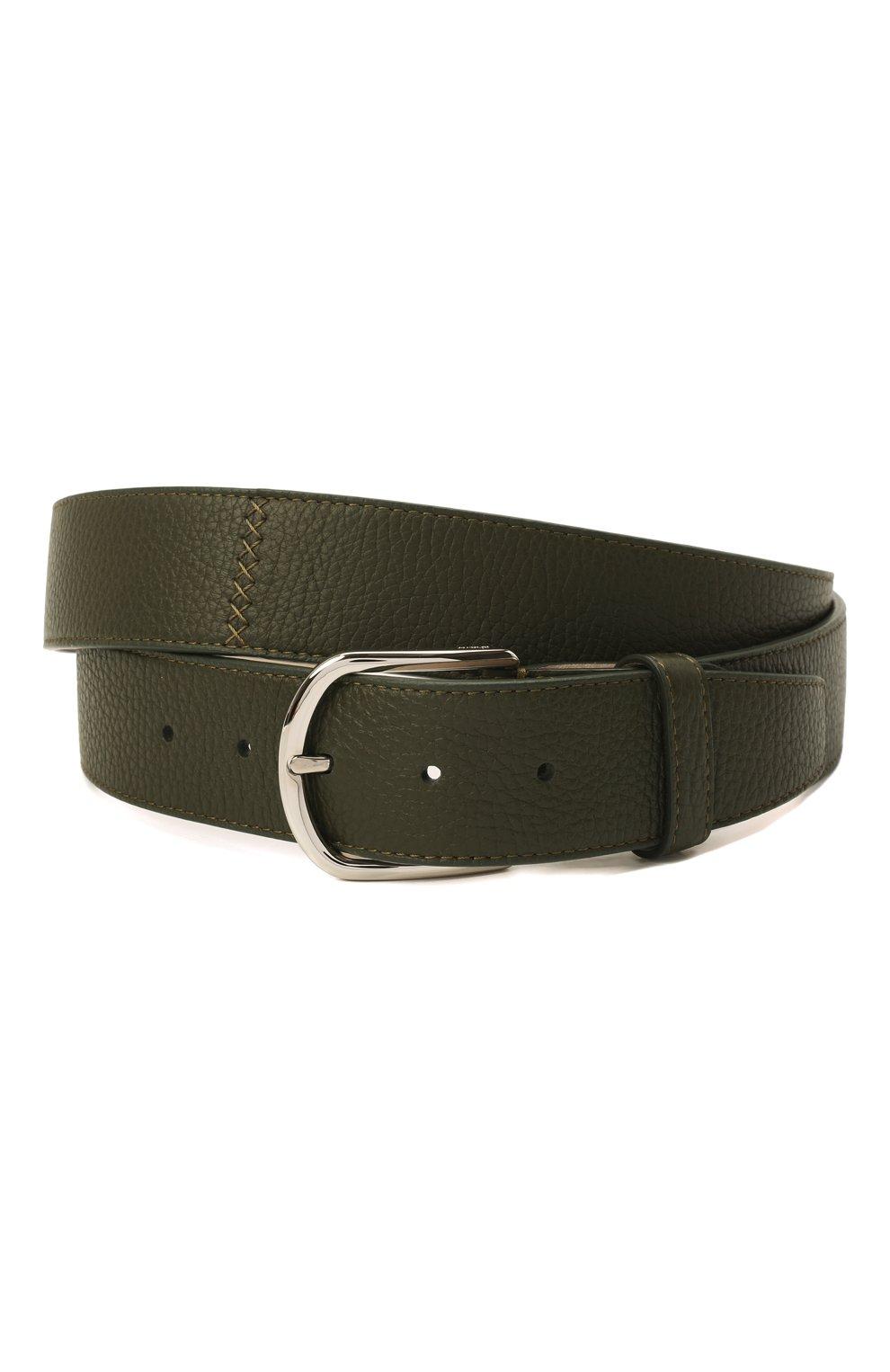 Мужской кожаный ремень BRIONI темно-зеленого цвета, арт. 0BAT0L/P7731   Фото 1