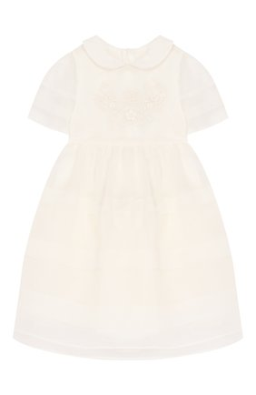 Женский шелковое платье FENDI белого цвета, арт. BFB298/A6IW/12M-24M | Фото 1