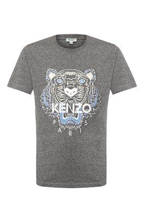 Мужская хлопковая футболка KENZO серого цвета, арт. FA55TS0504YA | Фото 1
