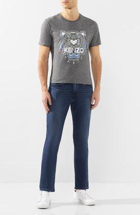 Мужская хлопковая футболка KENZO серого цвета, арт. FA55TS0504YA | Фото 2