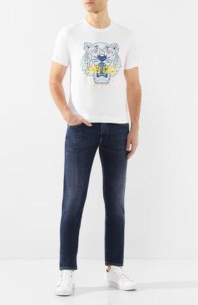 Мужская хлопковая футболка KENZO белого цвета, арт. FA55TS0504YA   Фото 2