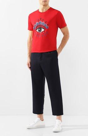 Мужская хлопковая футболка KENZO красного цвета, арт. FA55TS0494YC   Фото 2